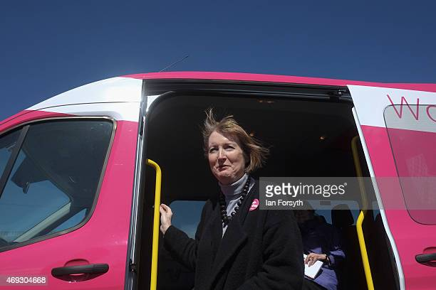 Deputy Leader of the Labour Party and Shadow Deputy Prime Minister Harriet Harman travels on Labour's pink bus to a meeting with women voters on...
