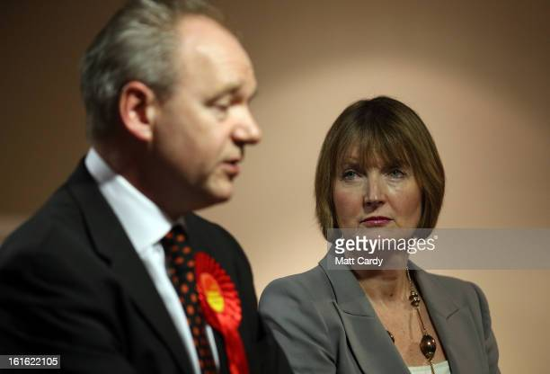 Deputy Leader of The Labour Party Harriet Harman listens to Labour's candidate for the Eastleigh byelection John O'Farrell in the constituency of...