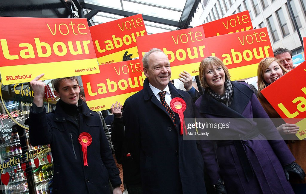 Deputy Leader of The Labour Party <a gi-track='captionPersonalityLinkClicked' href=/galleries/search?phrase=Harriet+Harman&family=editorial&specificpeople=839866 ng-click='$event.stopPropagation()'>Harriet Harman</a> (R) walks with Labour's candidate for the Eastleigh by-election, John O'Farrell (C), as they meet voters in the constituency of Eastleigh on February 13, 2013 in Eastleigh, Hampshire. Author and Broadcaster John O'Farrell was selected only last night as Labour's candidate for the Eastleigh by-election by local members ahead of the Eastleigh by election on February 28 to elect a new MP after Chris Huhne was forced to resign.