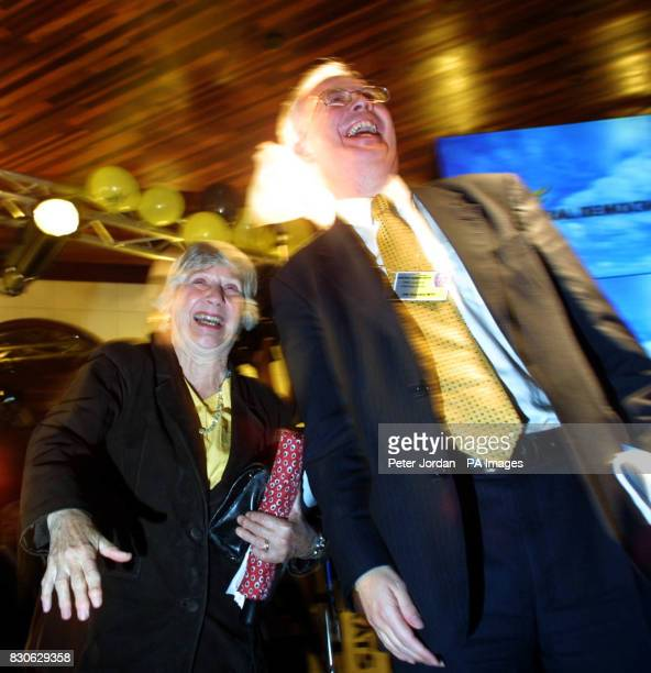 Deputy leader of the Liberal Democrats in the Lords Shirley Williams and Deputy First Minister of Scotland Jim Wallace join supporters at a London...