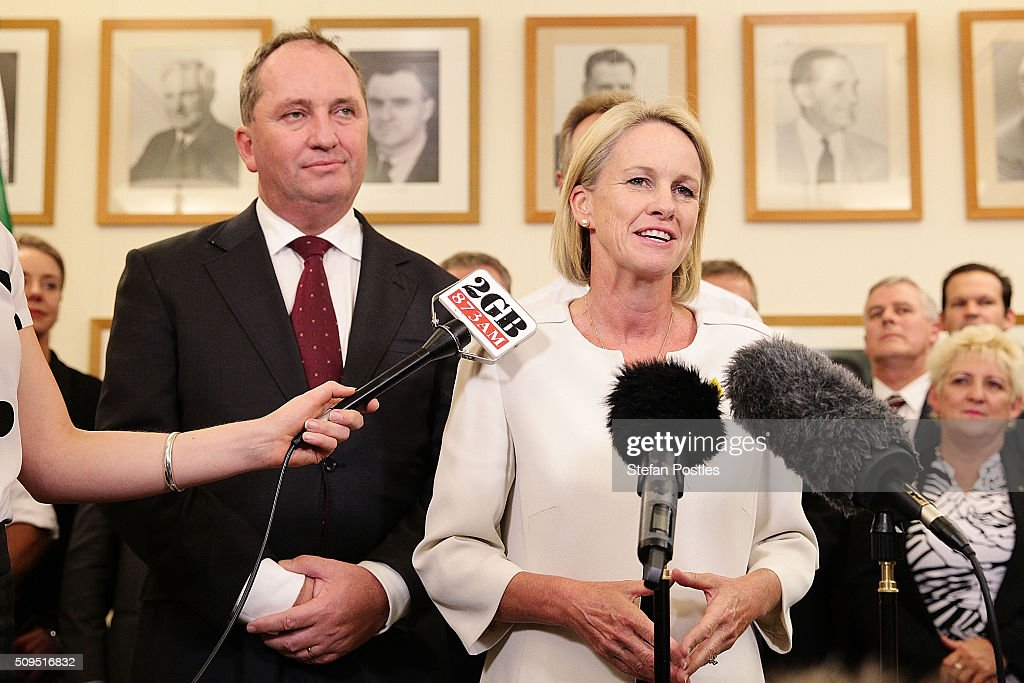 Deputy Leader of the National Party Fiona Nash speaks during a press conference with Leader of the National Party Barnaby Joyce in the National Party room at Parliament House on February 11, 2016 in Canberra, Australia. Warren Truss announced his retirement earlier on Thursday, triggering a leadership ballot.