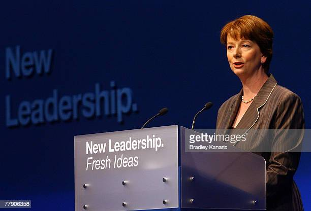 Deputy Leader of the Opposition and Shadow Minister for Employment Industrial Relations Julia Gillard speaks at the Australian Labor party campaign...