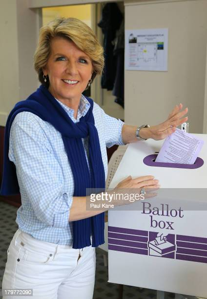 Deputy Leader of the Opposition Julie Bishop casts her vote at the Cottesloe Civic Centre in the electorate of Curtin on election day on September 7...