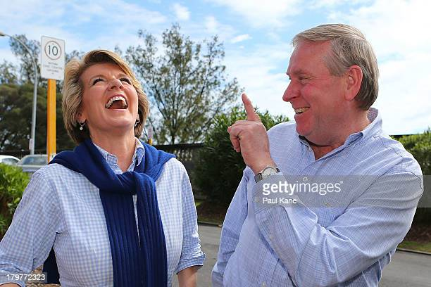 Deputy Leader of the Opposition Julie Bishop laughs with West Australian Premier Colin Barnett after voting at the Cottesloe Civic Centre in the...