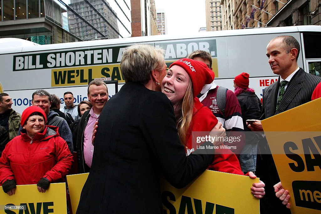 Deputy Leader of the Opposition Tanya Plibersek greets supporters during a Medicare Rally at Martin Place on July 1, 2016 in Sydney, Australia.Bill Shorten is campaigning heavily on Medicare, promising to make sure it isn't privatised if the Labor Party wins the Federal Election on July 2.
