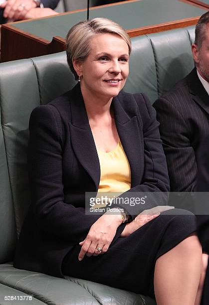 Deputy Leader of the Opposition Tanya Plibersek listens to Opposition leader Bill Shorten deliver his budget reply speech on May 5 2016 in Canberra...