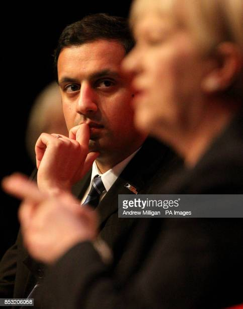 Deputy Leader of the Scottish Labour Party Anas Sarwar watches leader of the Scottish Labour Party Johann Lamont during a Q and A session at the...