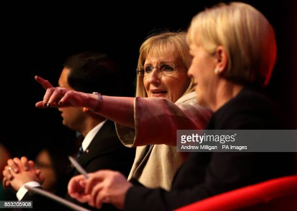 Deputy leader of the Scottish Labour Party Anas Sarwar with Shadow Secretary of State for Scotland Margaret Curran and leader of the Scottish Labour...