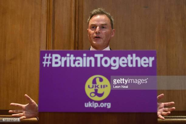 Deputy Leader Peter Whittle addresses the media during a policy launch event at the County Hall on April 24 2017 in London England During the press...