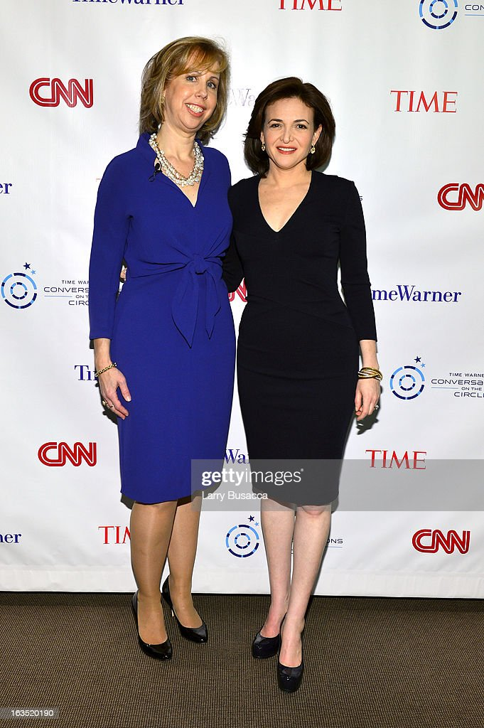 Deputy Managing Editor TIME, Nancy Gibbs, and Chief Operating Officer Facebook, Sheryl Sandberg attend Time Warner's Conversations on the Circle on March 11, 2013 in New York City.