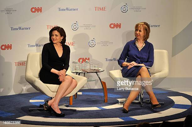 Deputy Managing Editor TIME Nancy Gibbs and Chief Operating Officer Facebook Sheryl Sandberg speak at Time Warner's Conversations on the Circle on...