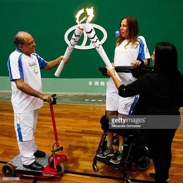 Deputy Mara Gabrilli receives the flame during the ceremony of arrival of the paralympic torch at the Brazilian Paralympic Training Center on...