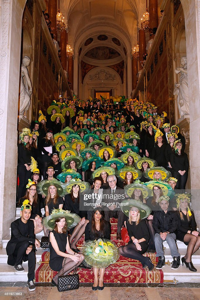 Deputy Mayor of Paris responsible for Art Works, Lyne Cohen-Solal and President of the French Federation of couture and ready-to-wear, Didier Grumbach with Catherinettes and Nicolas attend Sainte-Catherine Celebration at Mairie de Paris on November 25, 2013 in Paris, France.