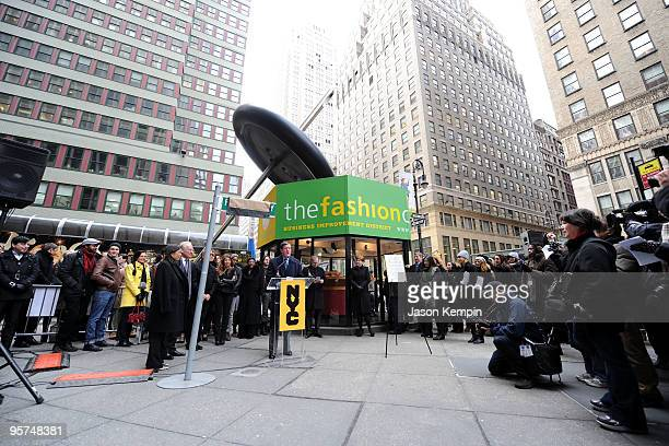 Deputy Mayor Robert C Lieber attends the Project Runway Avenue temporary street renaming at 39th Street and Seventh Avenue on January 13 2010 in New...
