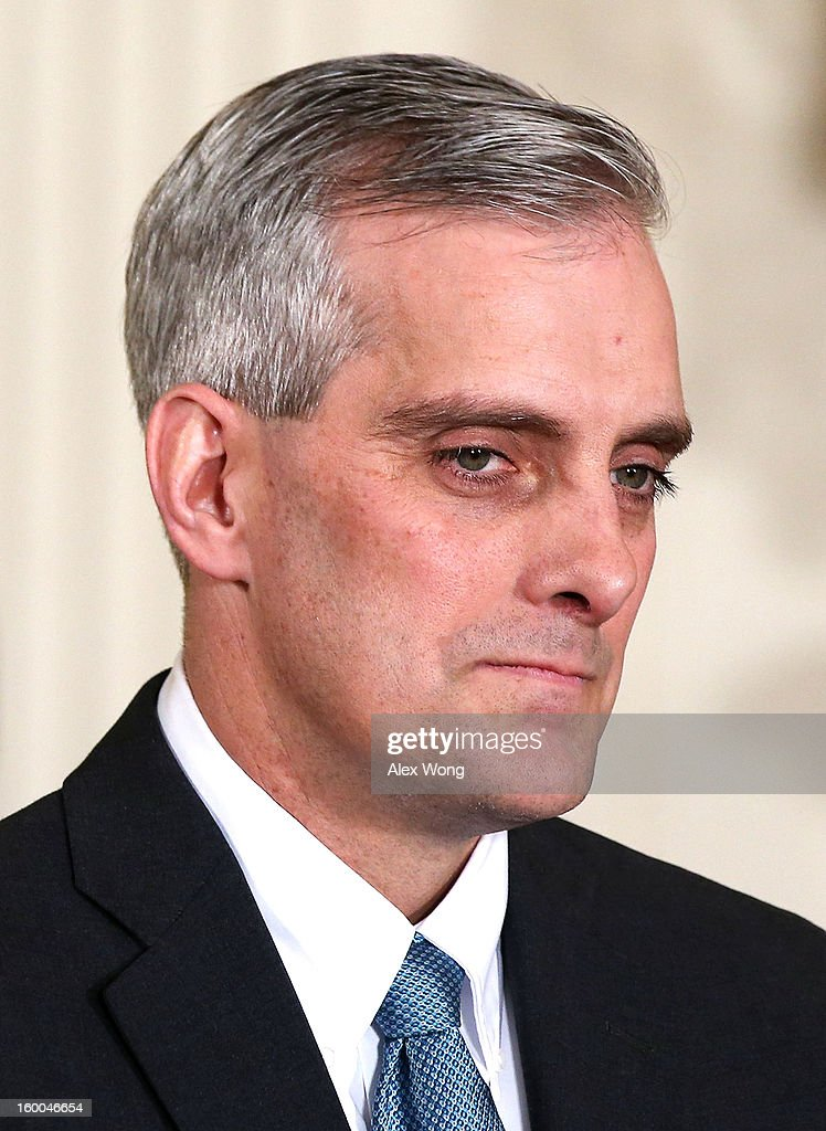 Deputy National Security Adviser Denis McDonough listens during a personnel announcement at the East Room of the White House January 25, 2013 in Washington, DC. U.S. President Barack Obama has appointed McDonough to replace Jack Lew to be the new White House chief of staff.