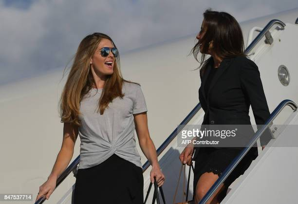 US Deputy National Security Advisor for Strategy to President US Donald Trump Dina Powell and White House Communications Director Hope Hicks talk...