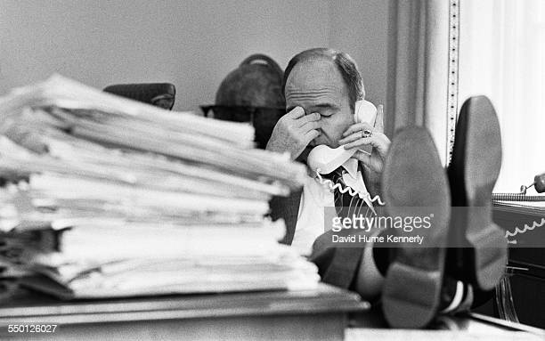 Deputy National Security Advisor General Brent Scowcroft in his White House office reacts to the news that the South Vietnamese town of Ban Me Thuot...