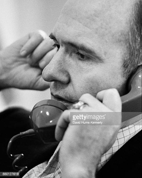 Deputy NSC Director Brent Scowcroft on the phone facilitating President Gerald R Ford's decision to commence the final evacuation of Americans from...