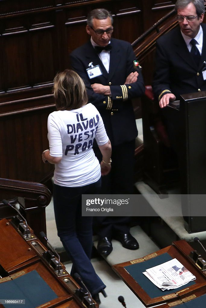 Deputy of Popolo della Liberta' party <a gi-track='captionPersonalityLinkClicked' href=/galleries/search?phrase=Alessandra+Mussolini&family=editorial&specificpeople=243183 ng-click='$event.stopPropagation()'>Alessandra Mussolini</a> wears a t-shirt with writing meaning 'The Devil Wears Prodi' as Parliament votes for President of Republic on April 19, 2013 in Rome, Italy. More than 1,000 politicians are due to gather in the lower house of parliament for the second day to vote in a successor for Giorgio Napolitano.