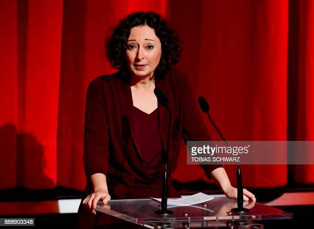Deputy of the Governing Mayor of Berlin Ramona Pop delivers a speech during the 30th European Film Awards ceremony in Berlin on December 9 2017 / AFP...