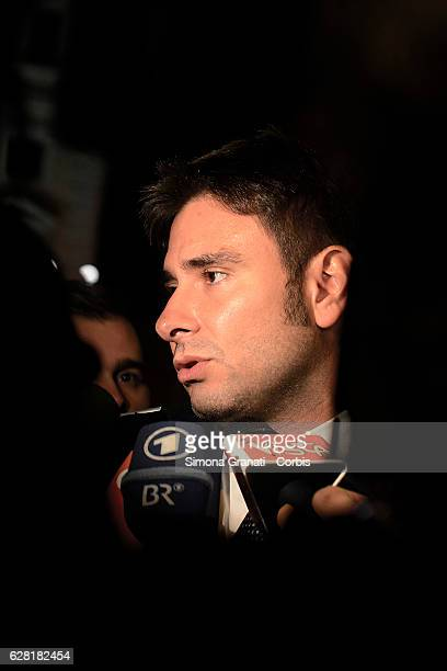 Deputy of the XVII Legislature of the Italian Republic and Five Star Movement MP Alessandro Di Battista speaks with media following the resignation...