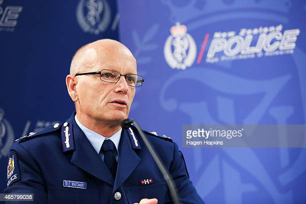 Deputy Police Commissioner Mike Clement speaks to media representatives about the 1080 blackmail threat investigation at Police National Headquarters...