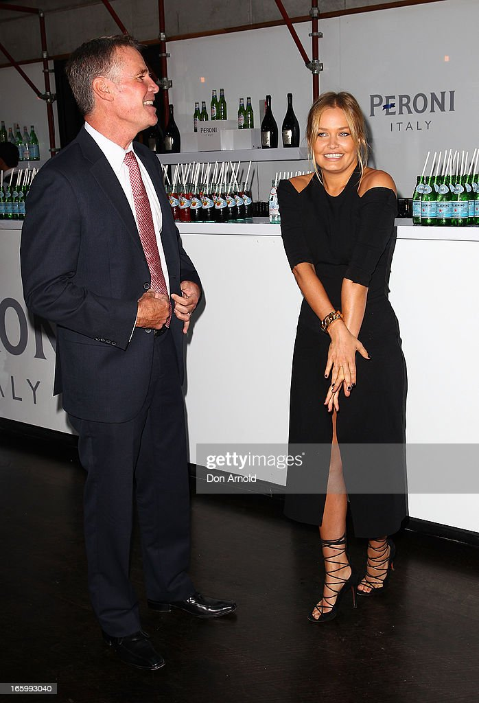 Deputy Premier Andrew Stoner chats to <a gi-track='captionPersonalityLinkClicked' href=/galleries/search?phrase=Lara+Bingle&family=editorial&specificpeople=553554 ng-click='$event.stopPropagation()'>Lara Bingle</a> during Mercedes-Benz Fashion Week Australia Spring/Summer 2013/14 at Carriageworks on April 8, 2013 in Sydney, Australia.