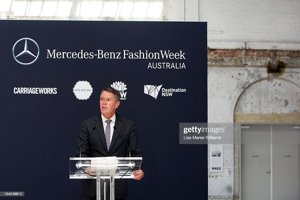 Deputy Premier Andrew Stoner speaks during the Mercedes-Benz Fashion Week Australia 2013 Plan Launch at Carriageworks on October 17, 2012 in Sydney, Australia. IMG today announced Carriageworks as the new host venue of Mercedes-Benz Fashion Week Australia.