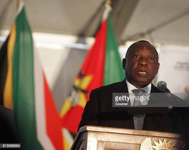 Deputy President Cyril Ramaphosa addresses the audience during the 30th commemoration of Samora Machels death on October 17 2016 in Mpumalanga South...