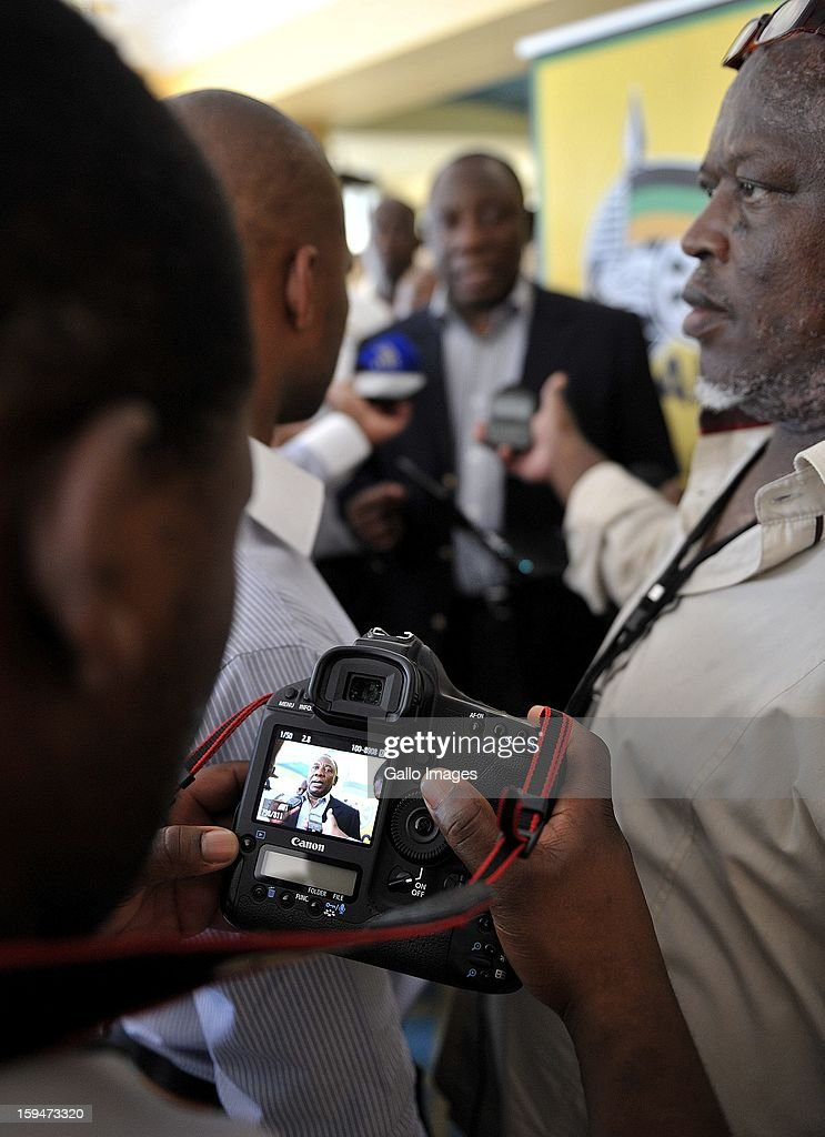 ANC Deputy President Cyril Ramaphosa addressing journalists on January 10, 2013, in Pietermaritzburg, South Africa. The ANC rally marked the party's 101 year of existence.
