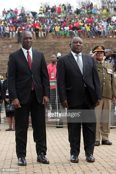 Deputy President Cyril Ramaphosa and Mozambique Prime Minister Carlos Agostinho Rosario during the 30th commemoration of Samora Machels death on...
