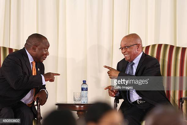 Deputy President Cyril Ramaphosa and President Jacob Zuma during the swearingin ceremony on May 25 2014 in Pretoria South Africa New minsters were...