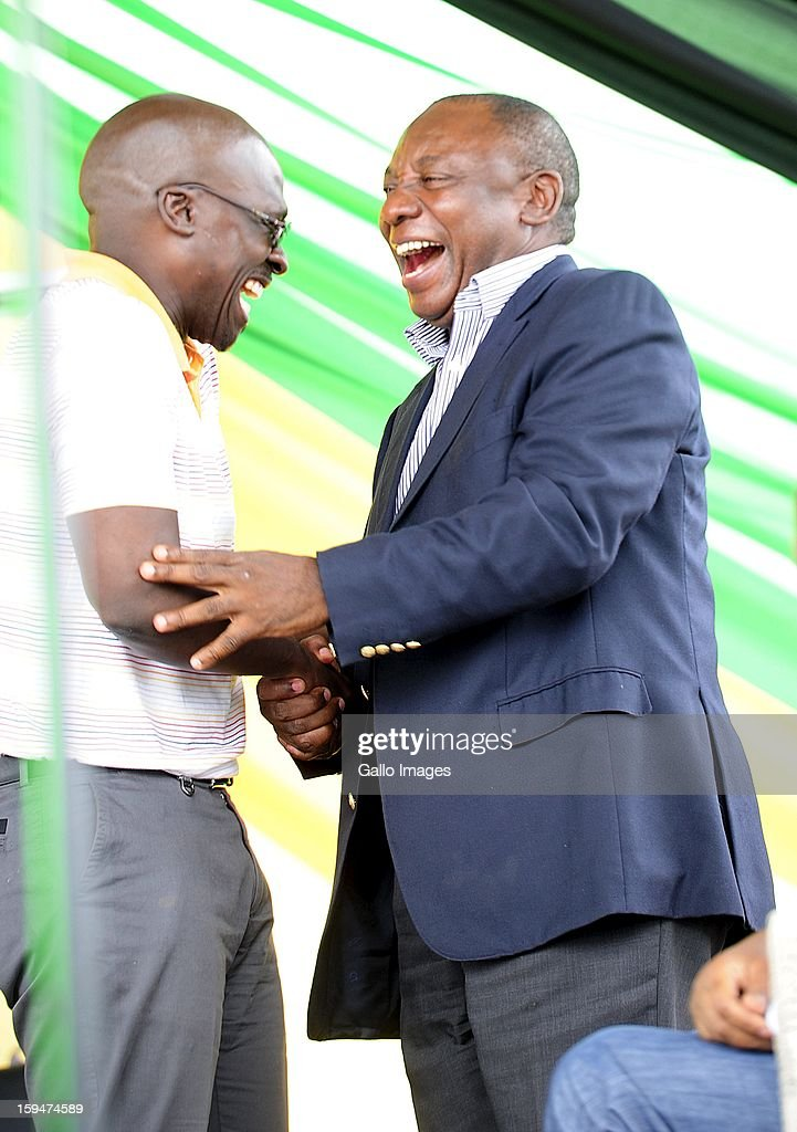 ANC Deputy President Cyril Ramaphosa and Public Enterprice Minister Malusi Gigaba on January 10, 2013, in Pietermaritzburg, South Africa. The ANC rally marked the party's 101 year of existence.