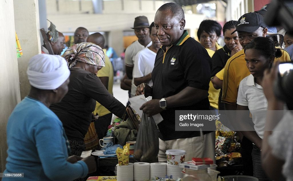 ANC Deputy President Cyril Ramaphosa meets informal traders on January 10, 2013, in Pietermaritzburg, South Africa. The ANC rally marked the party's 101 year of existence.