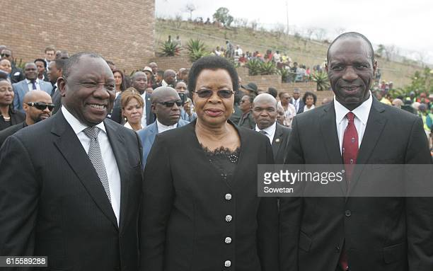 Deputy President Cyril Ramaphosa Samora Machels widow Graca and Mozambique Prime Minister Carlos Agostinho Rosario during the 30th commemoration of...