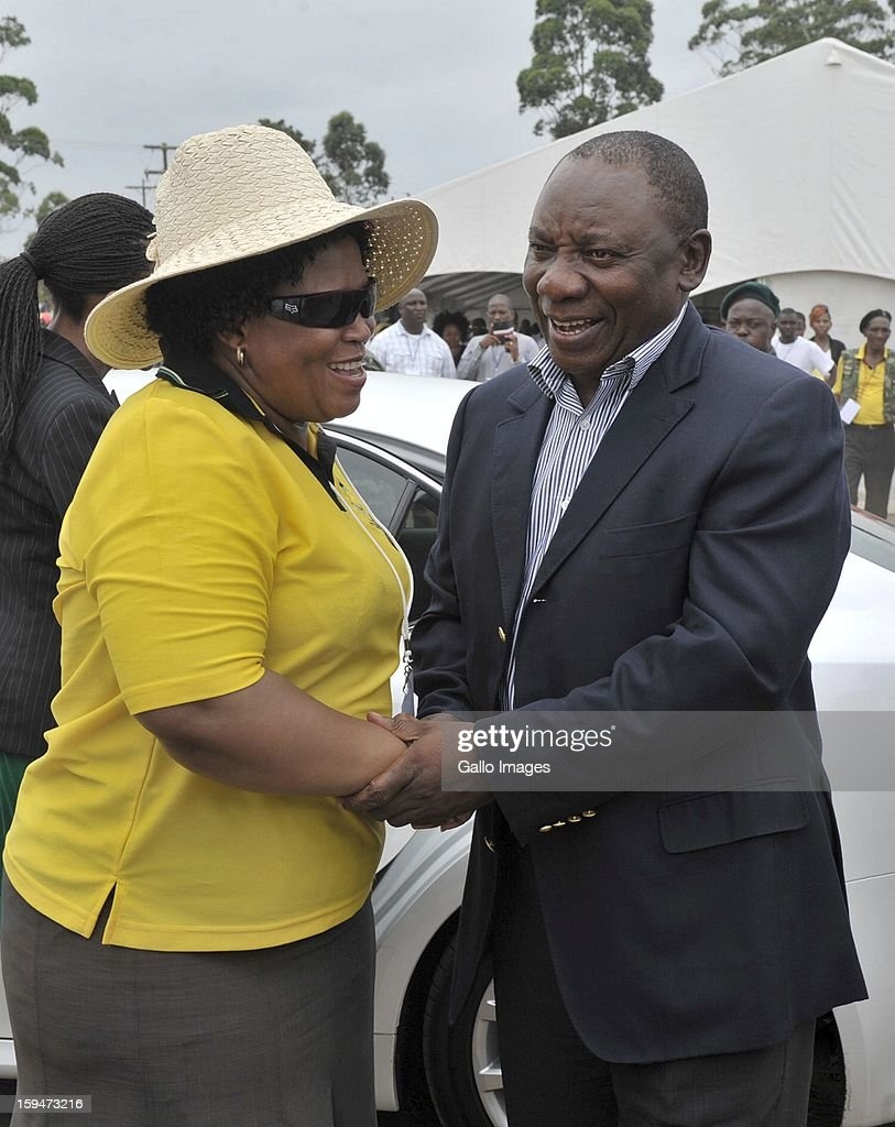 Deputy President Cyril Ramaphosa with Paggy Nkonyeni on January 10, 2013, in Pietermaritzburg, South Africa. The ANC rally marked the party's 101 year of existence.