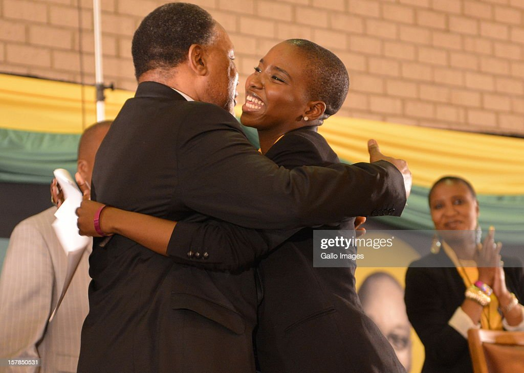 Deputy President, Kgalema Motlanthe congratulates Thuthukile Zuma at the Jacob Zuma Centennial on December 6, 2012 in Potchefstroom, South Africa. The lecture is part of the ANC's centenary celebrations honouring the party's presidents, and is the last before their elective conference in Mangaung.