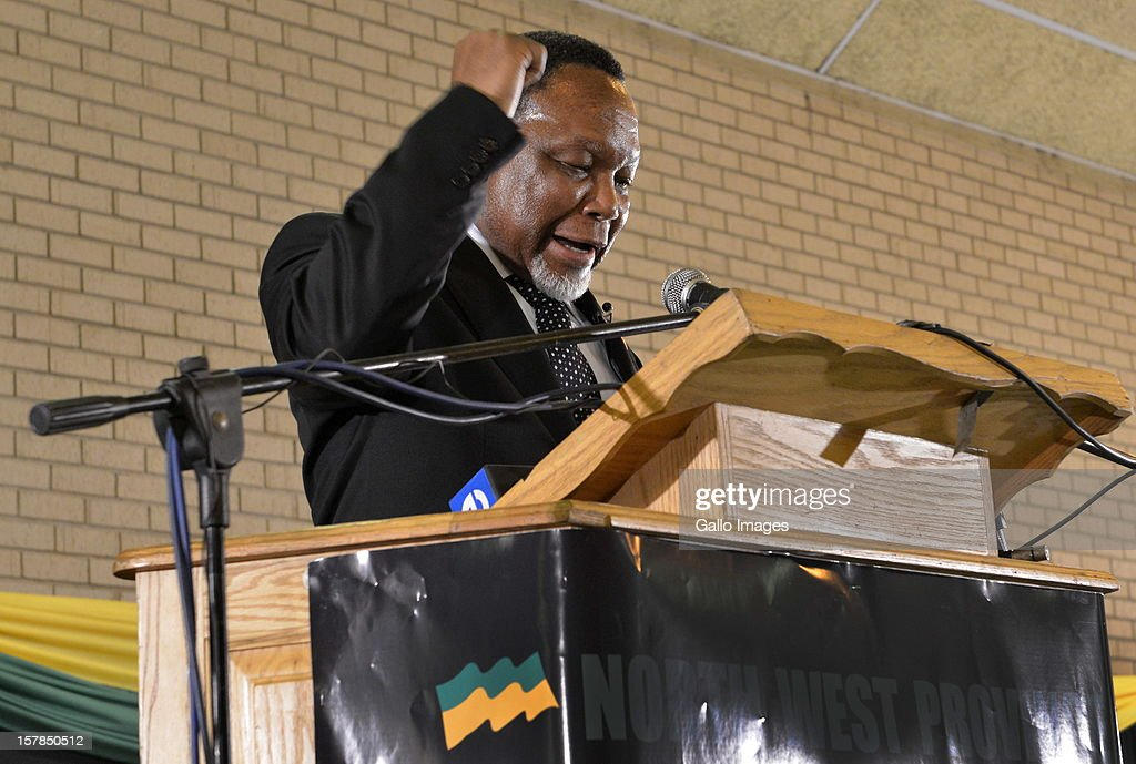 Deputy President, Kgalema Motlanthe, delivers his address at the Jacob Zuma Centennial lecture on December 6, 2012 in Potchefstroom, South Africa. The lecture is part of the ANC's centenary celebrations honouring the party's presidents, and is the last before their elective conference in Mangaung.