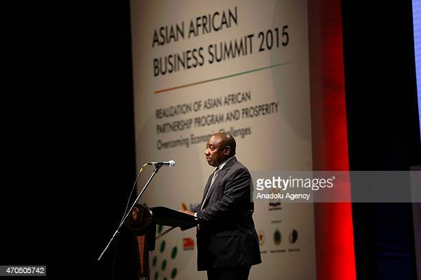 Deputy President of South Africa Cyril Ramaphosa delivers his speech during the plenary session of the Asian African Business Summit on the sideline...