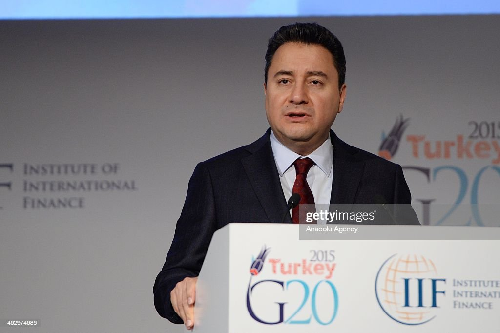 Deputy Prime Minister <a gi-track='captionPersonalityLinkClicked' href=/galleries/search?phrase=Ali+Babacan&family=editorial&specificpeople=612964 ng-click='$event.stopPropagation()'>Ali Babacan</a> speaks on the first day of 'The G20 Agenda Under The Turkish Presidency' conference in Istanbul, Turkey on February 08, 2015. Conference takes place from Feb. 8, 2015 until Feb. 9, 2015.
