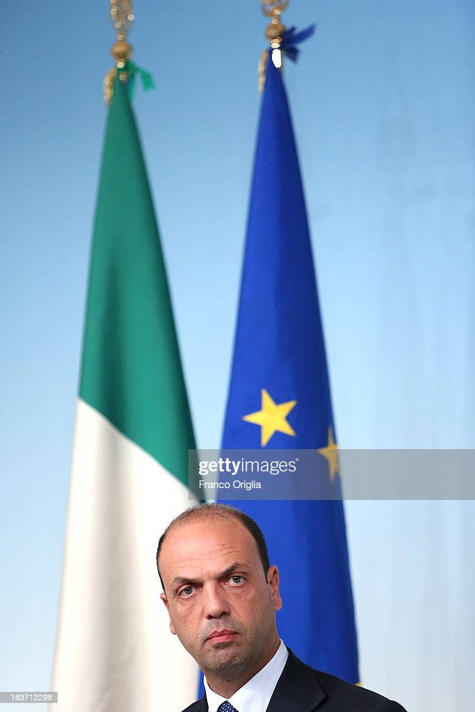Deputy Prime Minister and Interior Minister <a gi-track='captionPersonalityLinkClicked' href=/galleries/search?phrase=Angelino+Alfano&family=editorial&specificpeople=5101299 ng-click='$event.stopPropagation()'>Angelino Alfano</a> of the PDL (centre-right party led by Silvio Berlusconi) attends a press conference at Palazzo Chigi on October 9, 2013 in Rome, Italy. After asking all his ministers to resign, Silvio Berlusconi changed his mind and voted in support of the government as Prime Minister Enrico Letta gained the confidence vote at the Italian Senate on October 2nd.