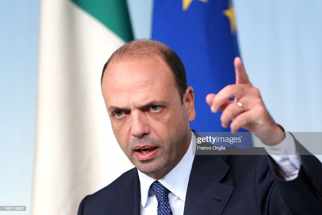 Deputy Prime Minister and Interior Minister Angelino Alfano of the PDL attends a press conference at Palazzo Chigi on October 9 2013 in Rome Italy...