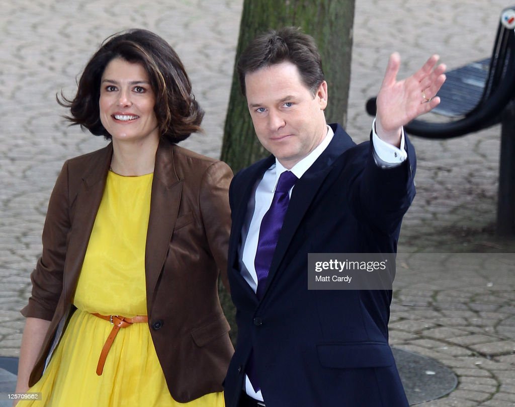 Deputy Prime Minister and leader of the Liberal Democrats Nick Clegg and his wife Miriam Gonzalez Durantez arrive at the Liberal Democrat Autumn Conference at the International Convention Centre (ICC) on September 21, 2011 in Birmingham, England. Today is the last day of the 5-day conference which will culminate in party leader and deputy prime minister Nick Clegg's keynote speech.