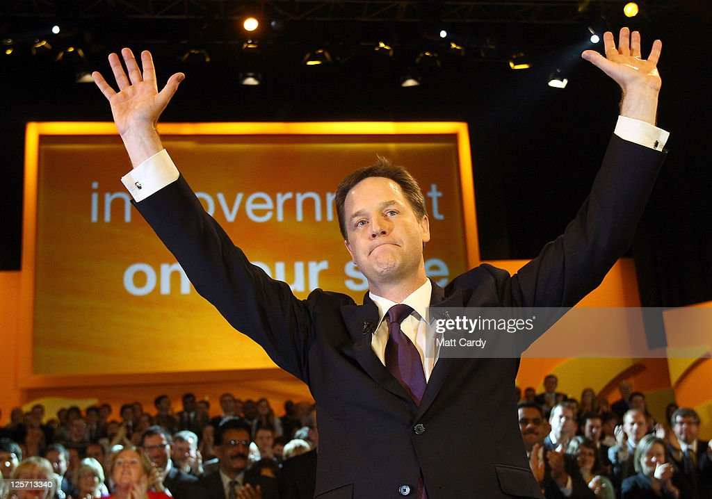 Deputy Prime Minister and leader of the Liberal Democrats Nick Clegg waves as he finishes his speech at the Liberal Democrat Autumn Conference at the International Convention Centre (ICC) on September 21, 2011 in Birmingham, England. Today is the last day of the 5-day conference which culminated in party leader and deputy prime minister Nick Clegg's keynote speech.