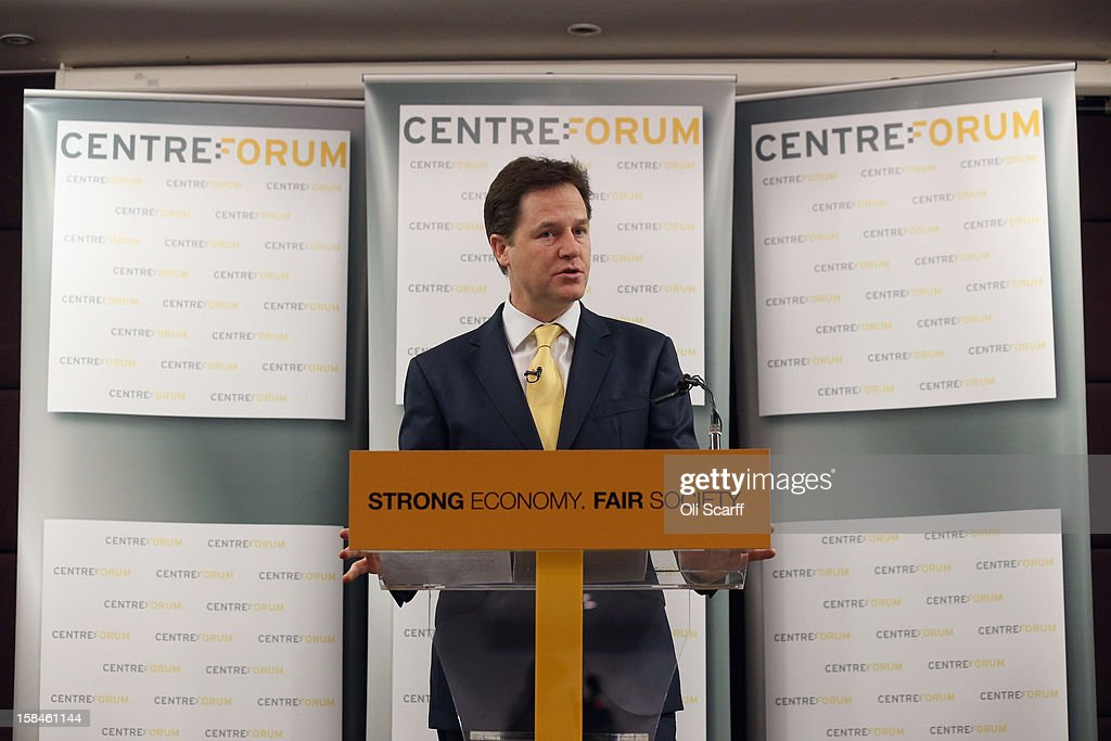 Deputy Prime Minister and Leader of the Liberal Democrats <a gi-track='captionPersonalityLinkClicked' href=/galleries/search?phrase=Nick+Clegg&family=editorial&specificpeople=579276 ng-click='$event.stopPropagation()'>Nick Clegg</a> delivers a speech to the think tank 'Centre Forum' at The Commonwealth Club on December 17, 2012 in London, England. In his speech, entitled 'Governing Britain from the centre ground', Mr Clegg reasserted his party's differences from Labour and the Conservatives.