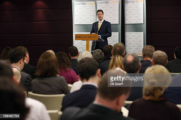 Deputy Prime Minister and Leader of the Liberal Democrats Nick Clegg delivers a speech to the think tank 'Centre Forum' at The Commonwealth Club on...