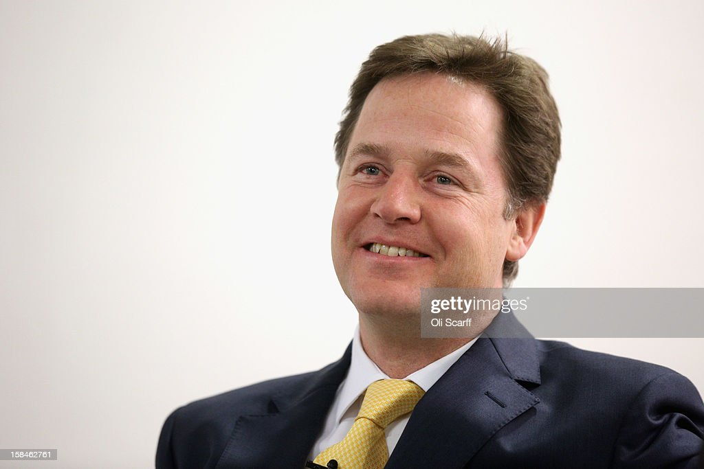 Deputy Prime Minister and Leader of the Liberal Democrats, <a gi-track='captionPersonalityLinkClicked' href=/galleries/search?phrase=Nick+Clegg&family=editorial&specificpeople=579276 ng-click='$event.stopPropagation()'>Nick Clegg</a>, prepares to deliver a speech to the think tank 'Centre Forum' at The Commonwealth Club on December 17, 2012 in London, England. In his speech, entitled 'Governing Britain from the centre ground', Mr Clegg reasserted his party's differences from Labour and the Conservatives.