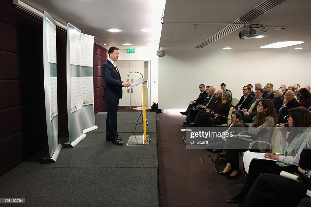 Deputy Prime Minister and Leader of the Liberal Democrats Nick Clegg delivers a speech to the think tank 'Centre Forum' at The Commonwealth Club on December 17, 2012 in London, England. In his speech, entitled 'Governing Britain from the centre ground', Mr Clegg reasserted his party's differences from Labour and the Conservatives.