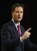 Deputy prime minister and Leader of the Liberal Democrats Nick Clegg delivers his keynote speech during the party's spring conference at the ACC on...
