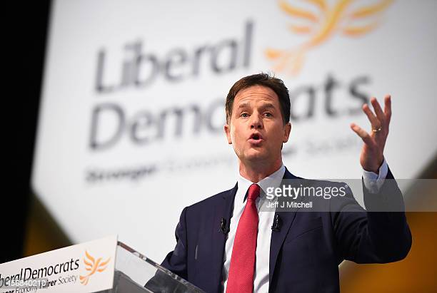 Deputy Prime Minister and Liberal Democrat leader Nick Clegg delivers his keynote speech on the last day of the Liberal Democrat Autumn conference at...